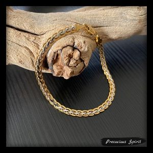 Two-tone chain link wheat braided thin bracelet